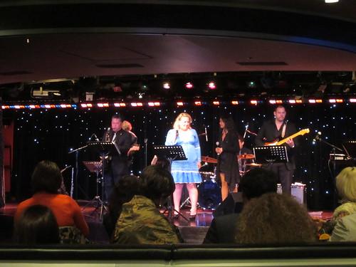 russian lady at live band karaoke