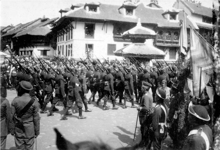 On the crowning day of Tribhuvan as King, soldiers marching