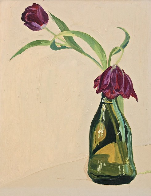 Janet E Davis, Sketch of two purple tulips in green bottle, 1993-4. JED2_H300_021138