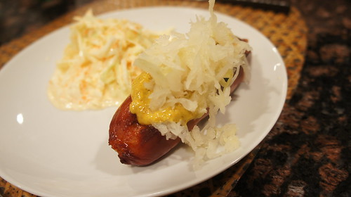 """Hebrew National """"Special"""" with Mustard and Sauer Kraut"""