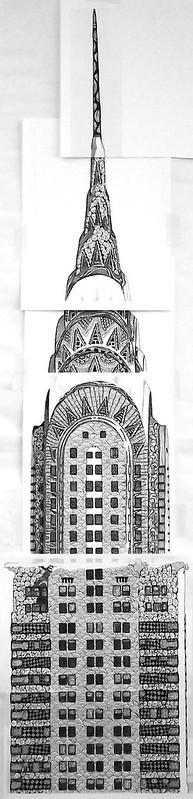 Work in Progress: Long Shot of the Chrysler Building Zentangled
