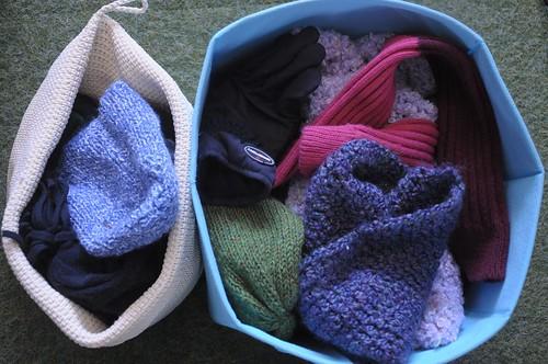 winter accessories in bins