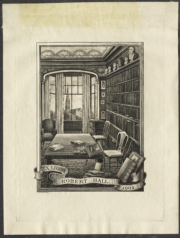 gravação de cena da biblioteca em casa com estante, mesa de janela, - bookplate