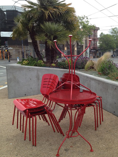 The Castro parklet in the morning