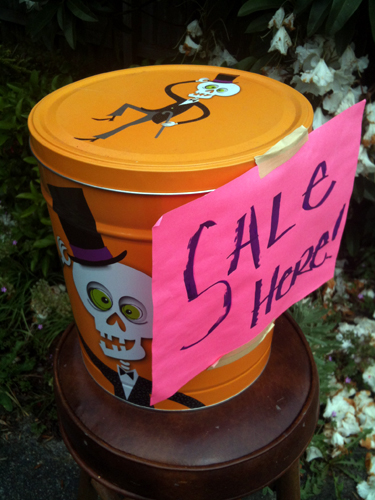 Sale sign on spooky can
