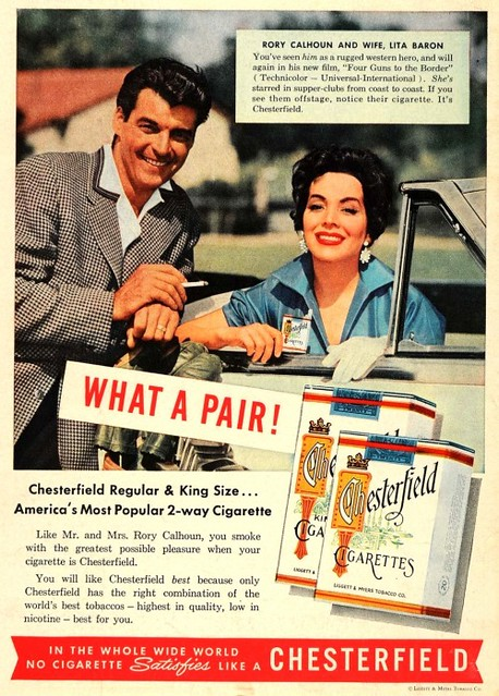 rory calhoun and lita baron chesterfield ad 1955