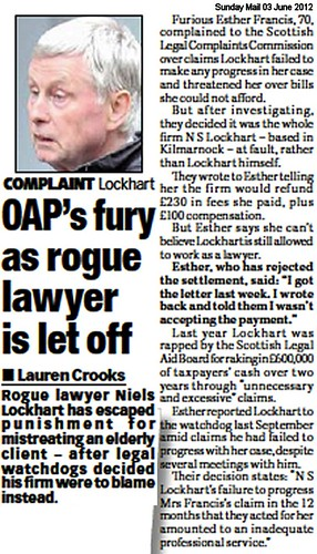 OAP fury as rogue lawyer let off Sunday Mail 03 June 2012