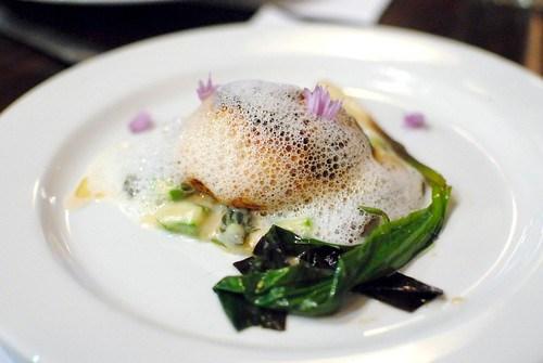 "Foie Gras ""Crepinette"" morels, pears, green asparagus"