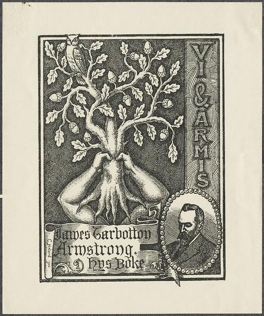 ex libris gravura: coruja em cima de uma árvore segurou no alto por braços humanos