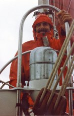 Dave Bricker at helm of Journeyman, 1991