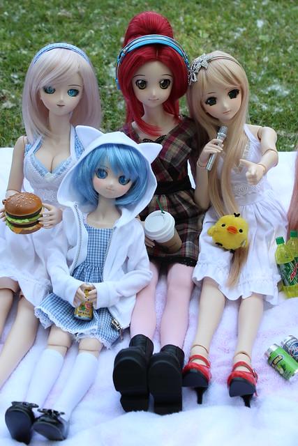 Hinata, Cirno, Yoko and Lily