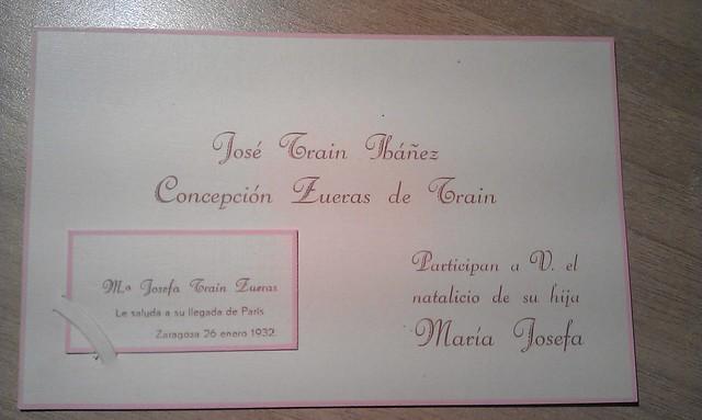 Invitación a bautizo, 1932