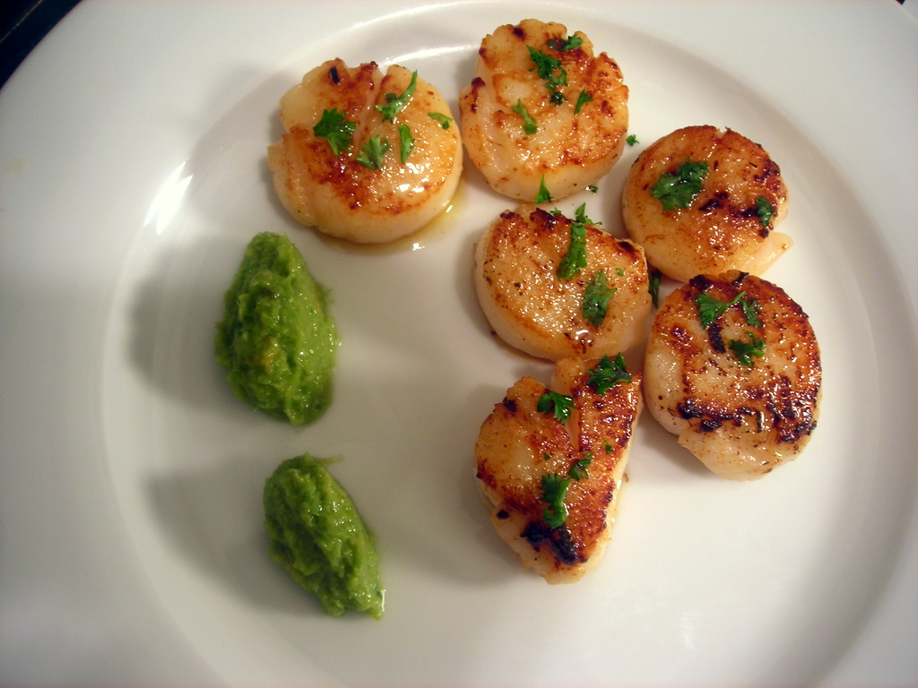 Pan-seared scallops, green garlic pesto