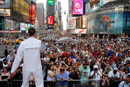 The U.S. Navy Band Northeast performs in Times Square for thousands of spectators during Fleet Week 2012. by Official U.S. Navy Imagery