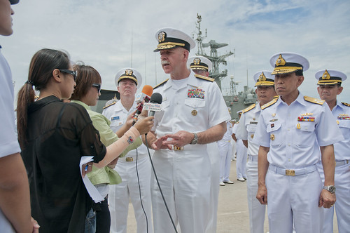 The commander of U.S. 7th Fleet, speaks with local Thai media during the closing ceremony for Cooperation Afloat Readiness and Training Thailand 2012. by Official U.S. Navy Imagery