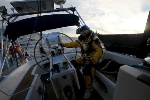 Morgenen etter kulingen i Biskaya, skipperen er veldig trøtt