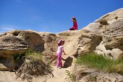 Aoibheann & Aisling climbing in the hoodos