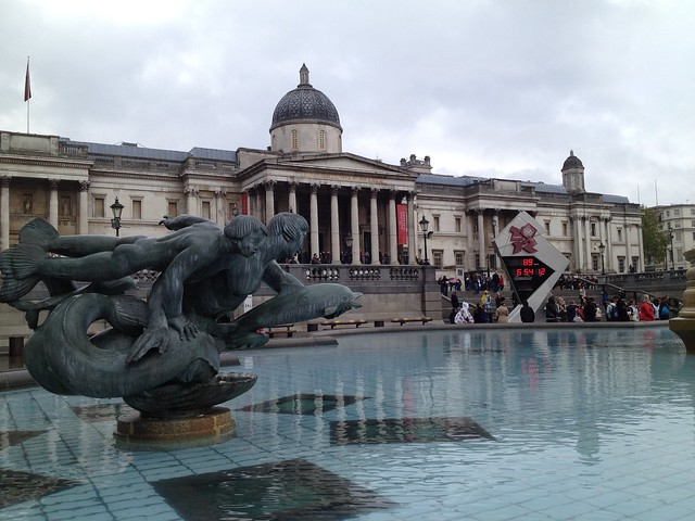 Trafalgar Square, National Gallery, London 2012 Olympics Countdown Clock