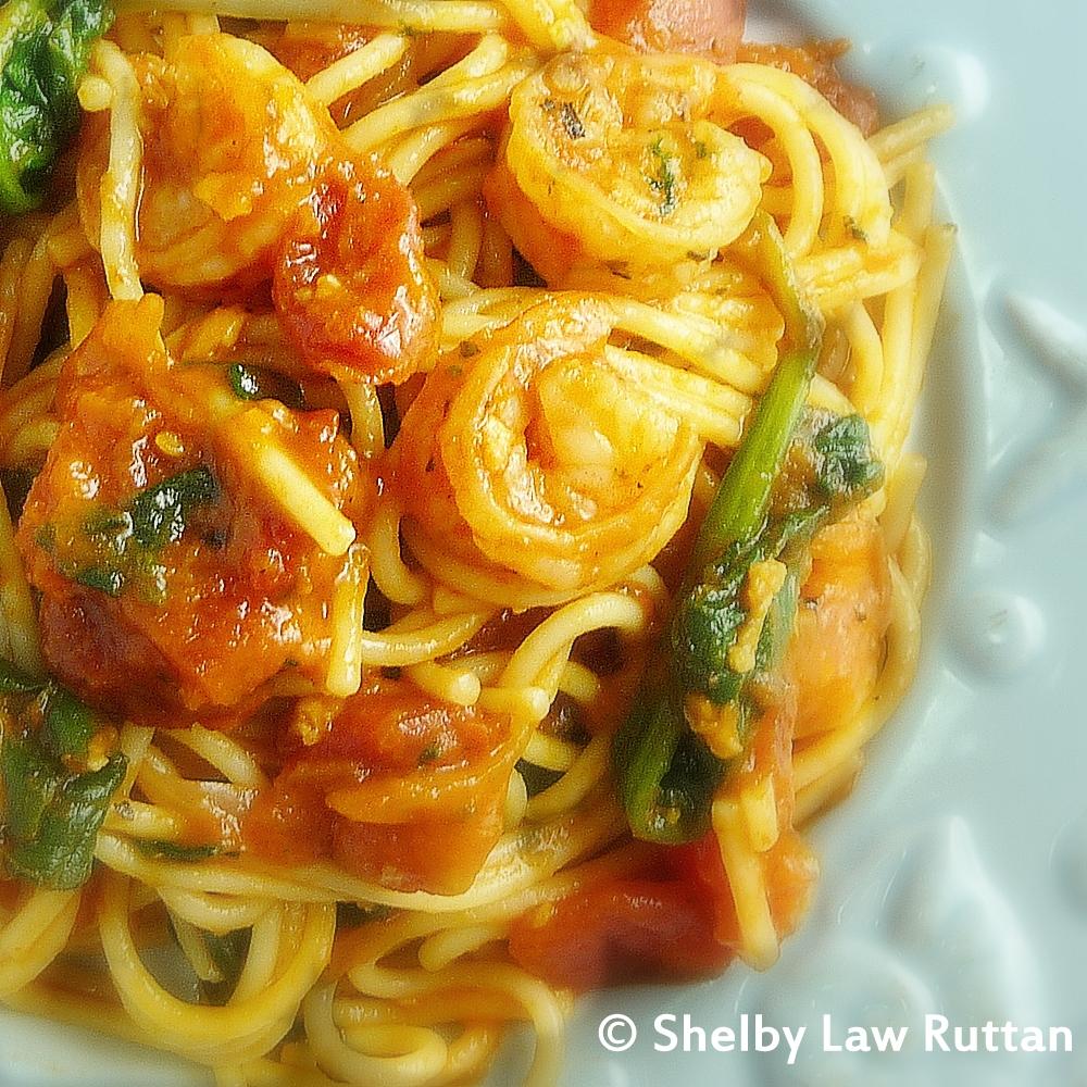 Shrimp Fra Diavlo with Spinach
