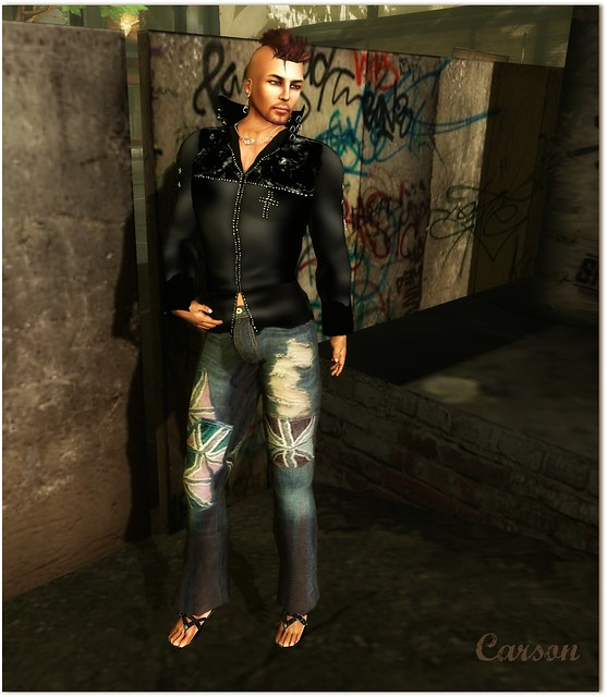 Sey - Silver - balck Leather Jacket, Union Cross Jeans, Onyx Sandals