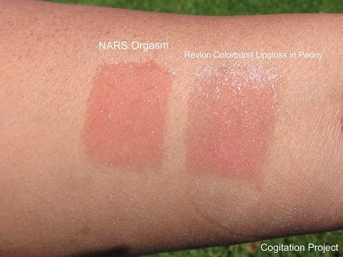 NARS-Orgasm-Revlon-Colorburst-Lipgloss-Peony-swatch-sun-IMG_1155