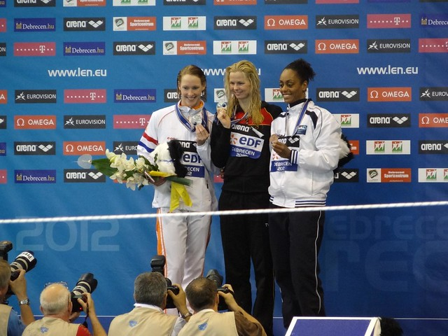 The Debrecen 2012 women's 50 free medal podium