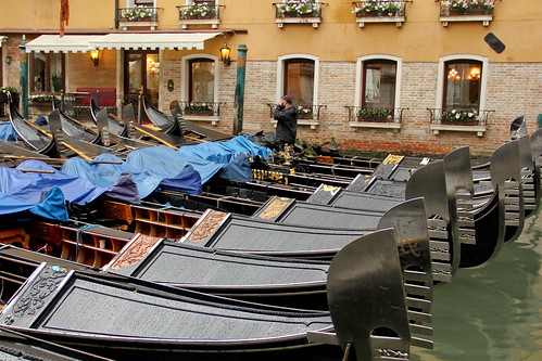 Gondolas in the rain