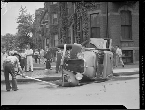 Car accident by Boston Public Library