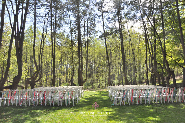 Outdoor Ceremony at Woodend with Ribbons on Chairs