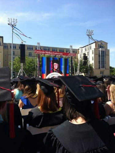Caroline Kessler speaking at Carnegie Mellon Graduation