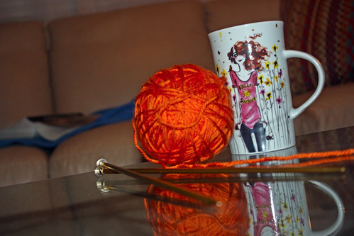 Orange Yarn for Tea Cup Cozy