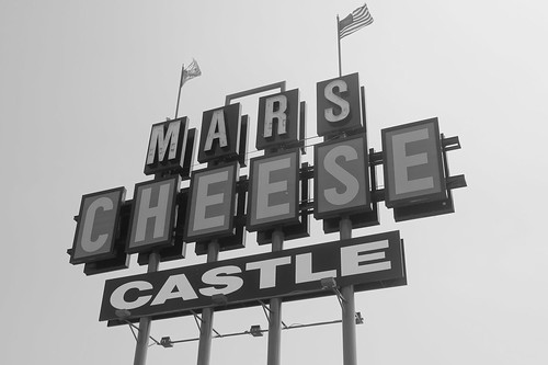 Mars Cheese Castle B & W close up