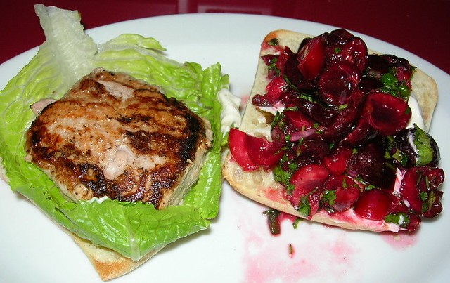 Cherry Salsa on Turkey Burger
