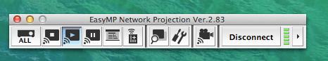 พอเชื่อมต่อเสร็จแล้ว ก็จะปรากฏ Toolbar สำหรับ EasyMP Network Projection แบบนี้