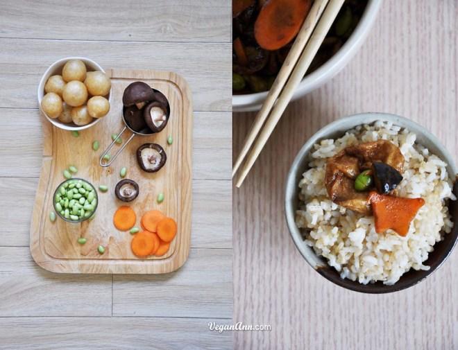 seitan ball with mushroom carrot and edamame mix