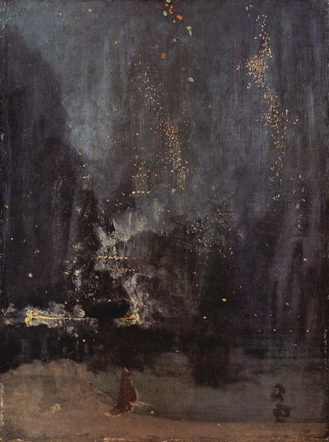 James Abbott McNeill Whistler, Night in Black and Gold, the Falling Rocket, 1874. Via Wikimedia.