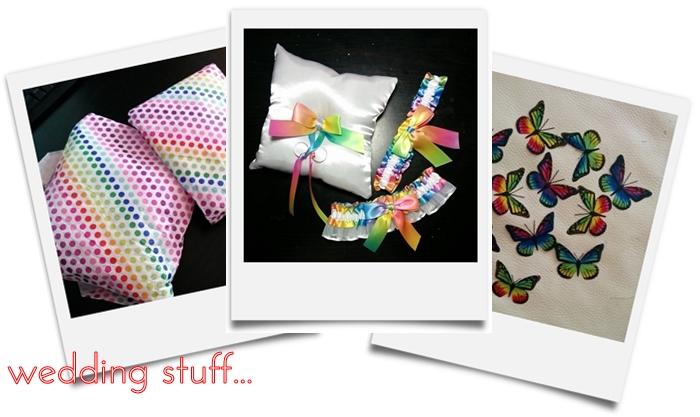 rainbow wedding garter ring bearer pillow butterflies