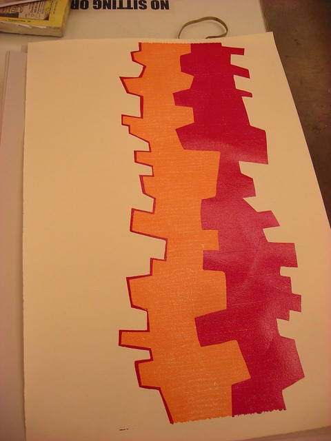 linoleum, printmaking, print