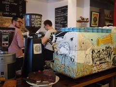 Hopper and machine, Prufrock Coffee, Leather Lane