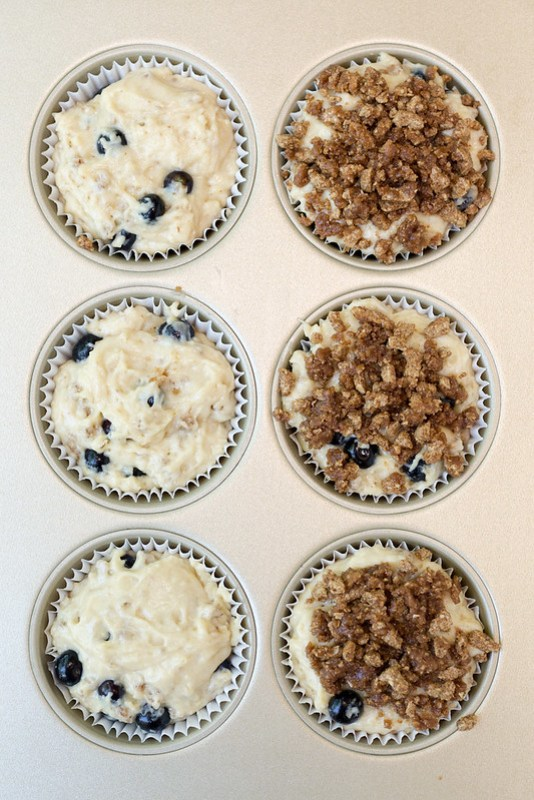 blueberry crunch muffin batter in tins #ad #shop