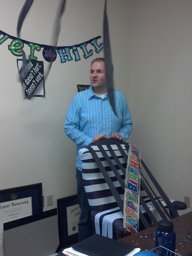 David's office decorated for his 30th birthday