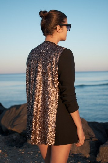 DIY Clothes Sequin Backed Three Quarter Sleeved Blazer Black Blazer with Gold Back Ocean View