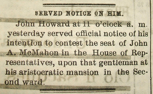 John Howard contested the 1876 Congressional election but still lost after a re-count (Dayton Journal, 10 Nov. 1876)
