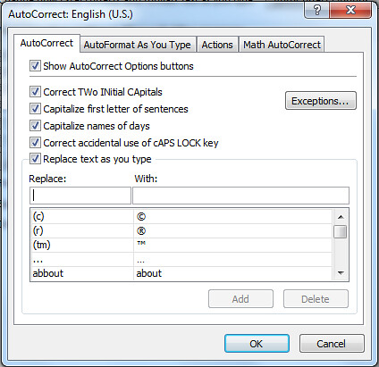 Microsoft Office Options - AutoCorrect
