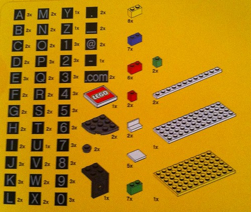 LEGO Business Card Holder Parts List