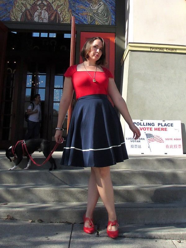 All decked out at the polls, in red, white, and blue. (Photo by Pat Zimmerman.)