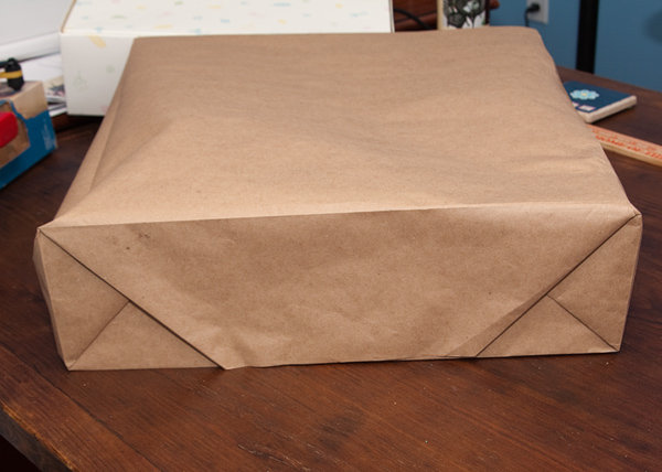 Brown paper gift bag