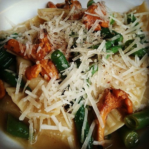 Agnolotti with green beans and chanterelles at Lawrence