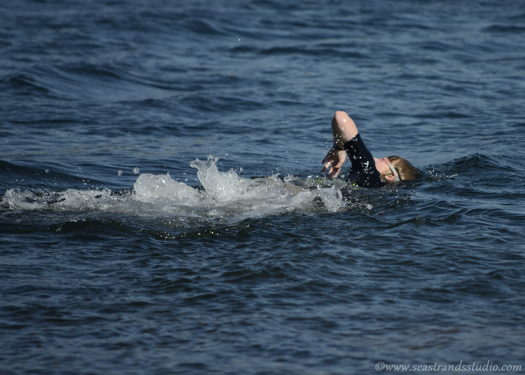 Katherine's first open-water swim, 2012