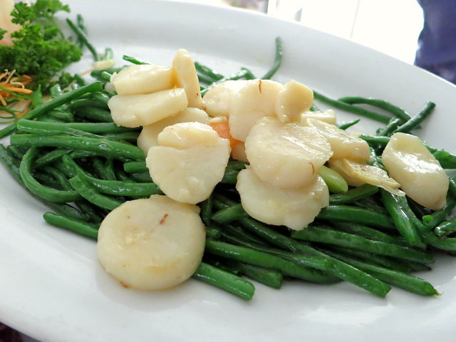 fresh scallops with French green beans
